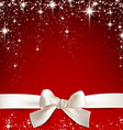 White gift bow on red vector image
