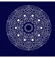 White mandala on the blue vector image vector image