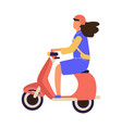 woman riding on motorbike female drive motorcycle vector image