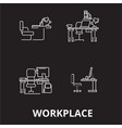workplace editable line icons set on black vector image vector image