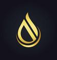 water drop abstract shape gold logo vector image