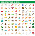 100 camping icons set cartoon style vector image vector image