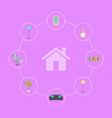 interior design elements in circles around house