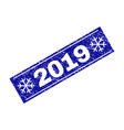 2019 grunge rectangle stamp seal with snowflakes