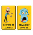 beware of zombies sticker set with monster vector image
