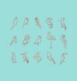 birds art deco flat graphic turquoise vector image