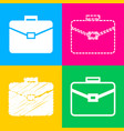 briefcase sign four styles of icon vector image vector image