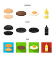 burger and ingredients cartoonblackflat icons in vector image