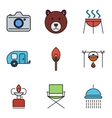 Camping outline stroke icon vector image