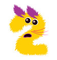 cartoon cute yellow and purple monster number two vector image