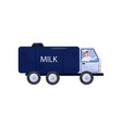 cheerful man driving truck with milk tank vehicle vector image