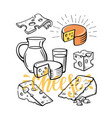 cheese set sketch vector image vector image