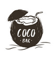 coconut cocktail with a straw and an umbrella vector image vector image