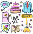 collection of wedding stock in doodles vector image vector image