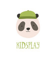 cute face or head panda bear wearing stylish vector image