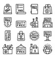 duty free shop icons set outline style vector image vector image