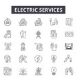 electric services line icons for web and mobile vector image vector image