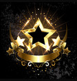five stars with golden ribbon vector image vector image