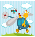 giraffe and bird on a helicopter vector image vector image