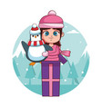 girl with winter clothes and penguin inside gift vector image vector image