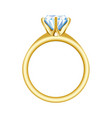 golden engagement or wedding ring with a big vector image