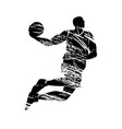 grunge silhouette basketball player vector image