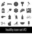 healthy icon set 3 gray icons on white vector image