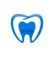 inside dental shape blue symbol design vector image vector image