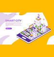 isometric city landing page futuristic digital vector image