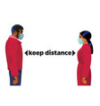 keep distance concept young man and woman vector image