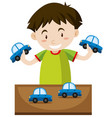 little boy playing with toy cars vector image