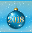 merry christmas 2018 decoration on blue background vector image