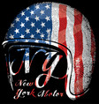 Motorcycle helmet with american flag graphic