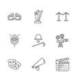 nine cinema icons vector image