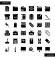 Office supply solid icons set