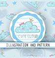 princess cute cloud - seamless pattern vector image