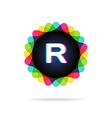 Retro bright colors Logotype Letter R vector image vector image