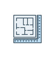 ruler with house plan architecture colored