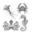 Sea marine doodle set vector image vector image