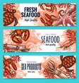 seafood product sketch banner set for food design vector image