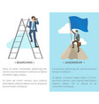 searching and leadership on vector image