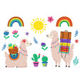 set isolated cute llama and other elements vector image vector image