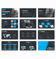 set of black slides with blue design elements vector image