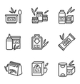 Simple line icons for baby food vector image vector image