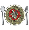 Spaghetti on the plate vector image