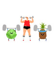 sport girl and fruits vector image