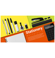 stationery scene with set office supplies vector image