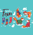 stickers collection with cartoon foxes in cozy vector image vector image