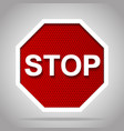 stop road sign with white frame on red reflective vector image