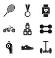 tennis championship icons set simple style vector image vector image